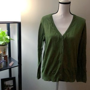 Ann Taylor LOFT Green Cardigan Sweater